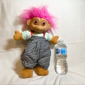 Vintage 90s large troll plush doll hair overalls